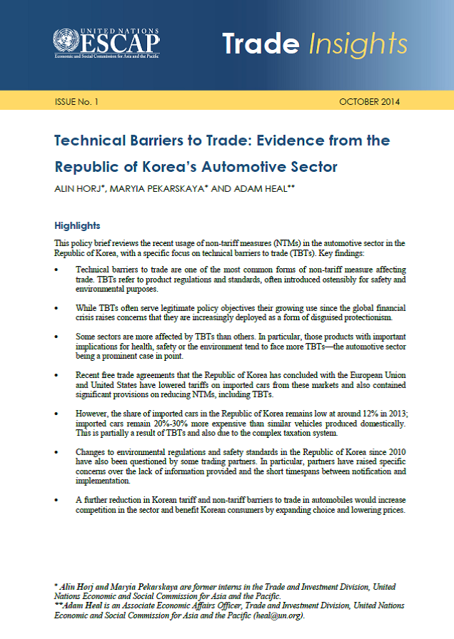 Technical Barriers To Trade Evidence From The Republic Of Koreas